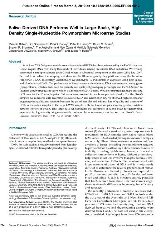 Oragene research paper
