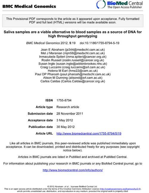 dna saliva genotyping breast cancer