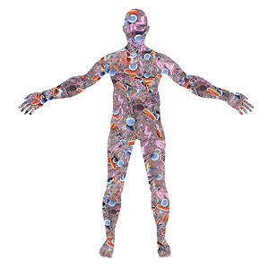 Human skin microbiome research - sketch of skin microbiome on human silhouette.